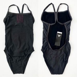 Adidas Gray Solid Stripes C-Back One Piece